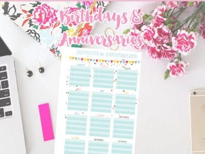 Birthdays & Anniversaries on One Page – Free Printable