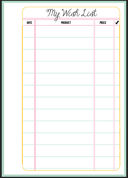 Filofax Wish List Printable