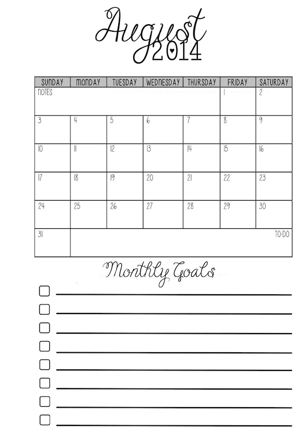pocket monthly calendars with goals for pocket size
