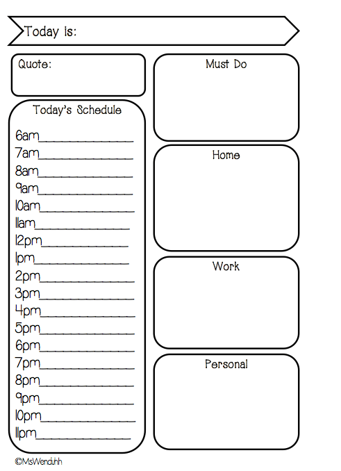 New Day On Two Pages Daily Schedule Free Printable for Filofaxes