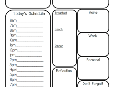 A5 & Personal Sized Day Per Page Filofax Insert Printable