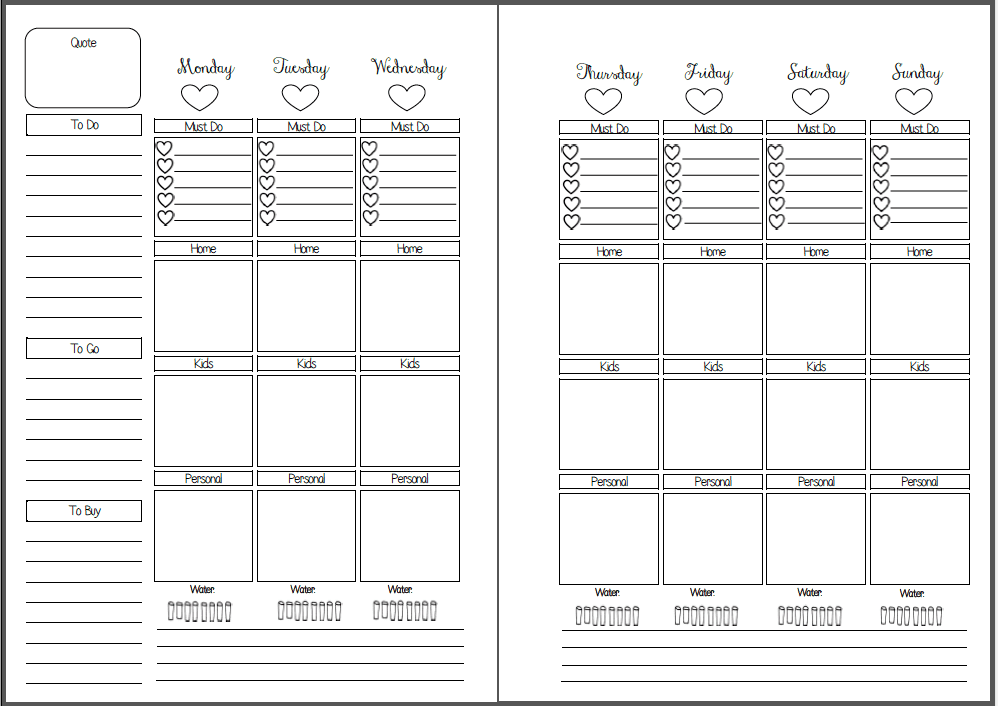 Week On Two Pages – Vertical Box Style Inserts