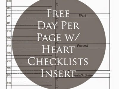 Day Per Page with Heart Checklists Planning Insert