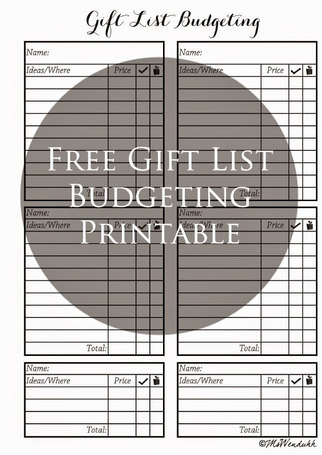 Gift List Budgeting