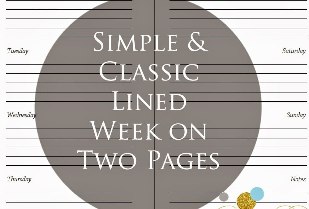 Simple & Classic Lined Week on Two Pages Inserts