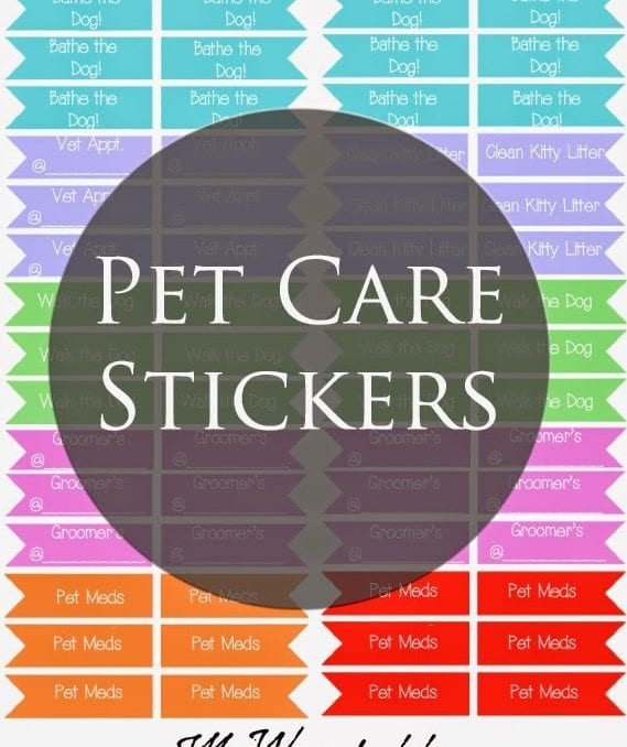 Pet Care Stickers for Planners