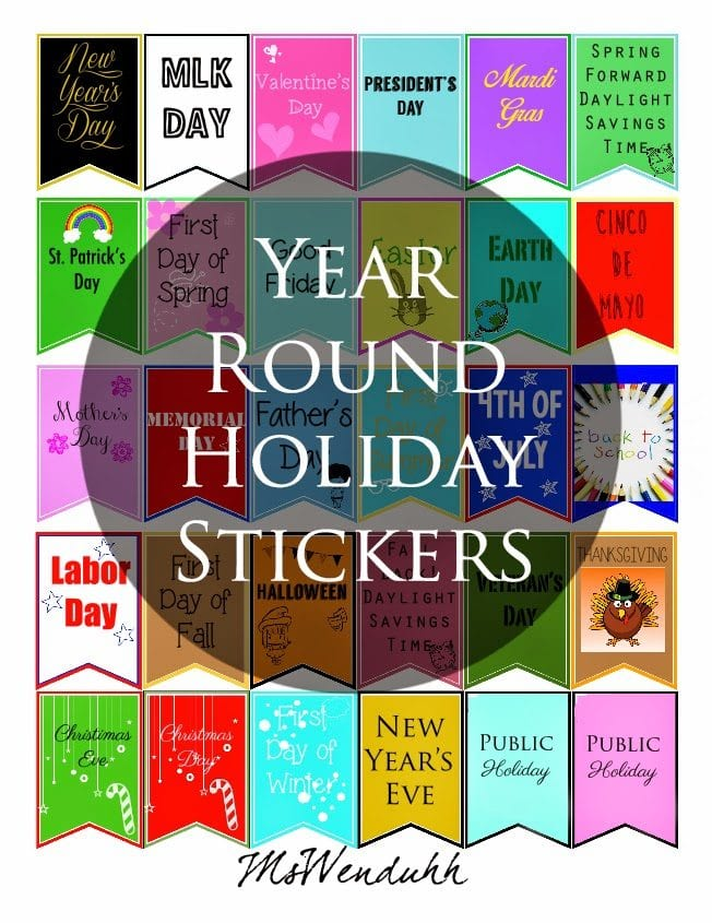 Year Round Holiday Stickers