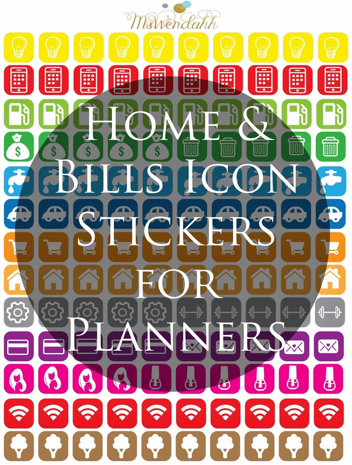 Home & Bill Icons Stickers