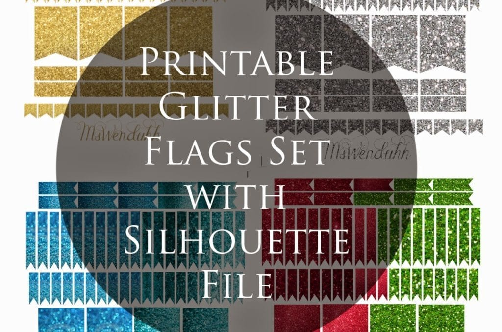 Glitter Flags Stickers Set (Gold, Silver, Blue, Red & Green!)