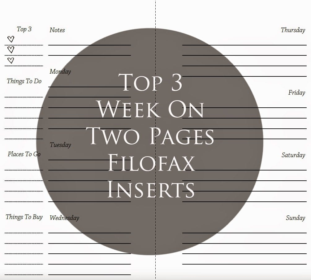 Lined Week on Two Pages with Top 3 Side Bar