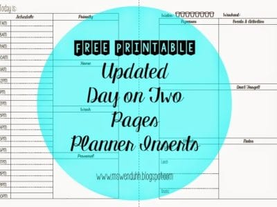 Updated Day on Two Pages Planner Inserts