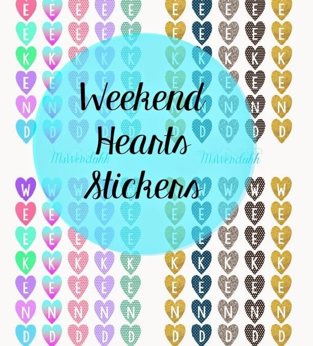 Vertical Hearts Weekend Dividers Stickers
