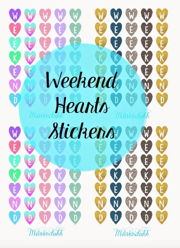 Vertical Hearts Weekend Dividers Stickers | Wendaful