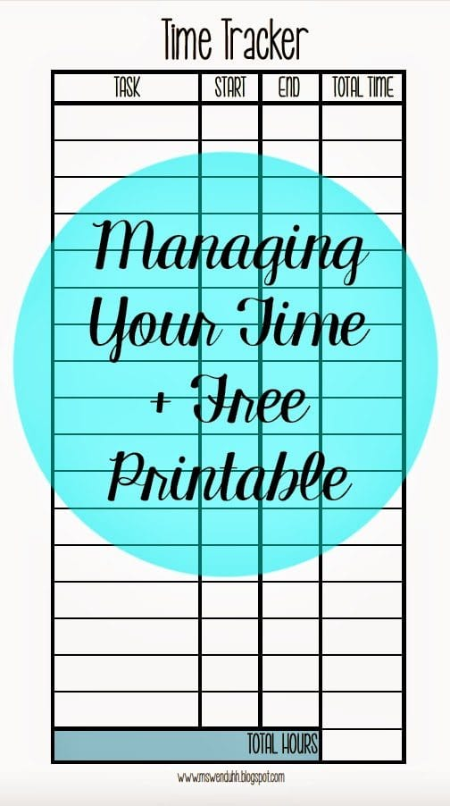 managing keeping track of your time free printable