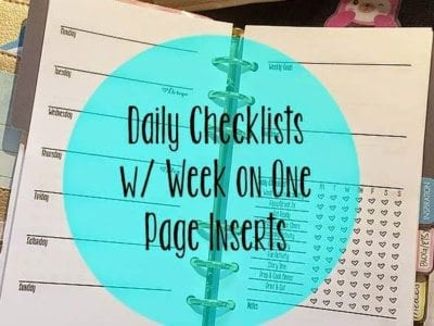 Daily Checklists & Week On One Page Planner Inserts