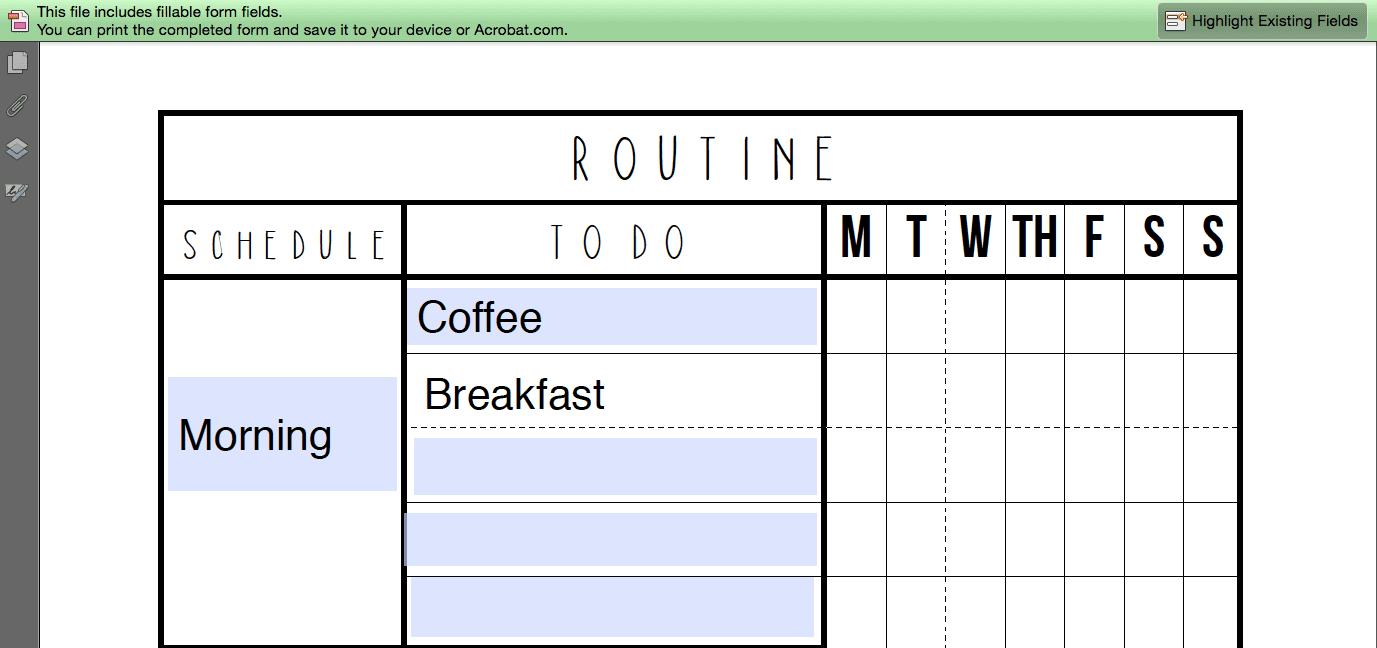 daily routine checklist template