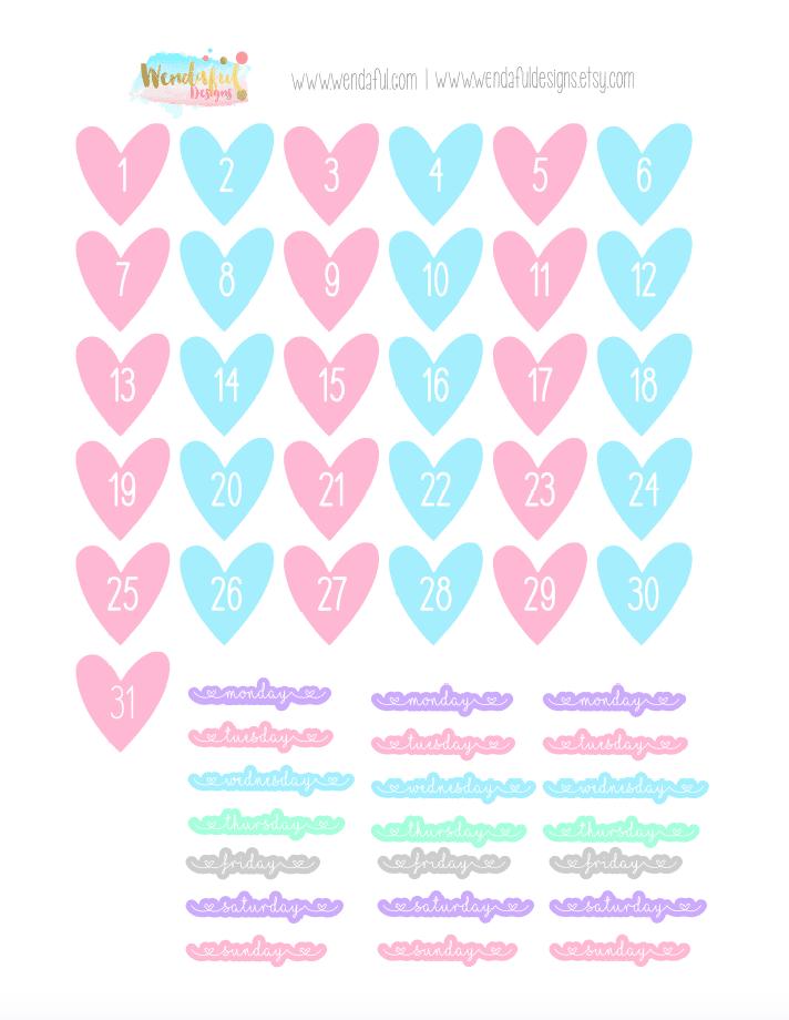 Free Heart Dates Stickers | Wendaful