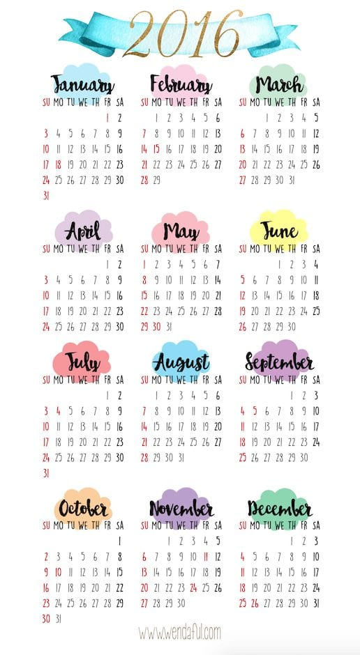 Free Planner Printable   Yearly Overview Calendar
