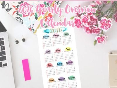 2016 Yearly Overview Calendar Printable