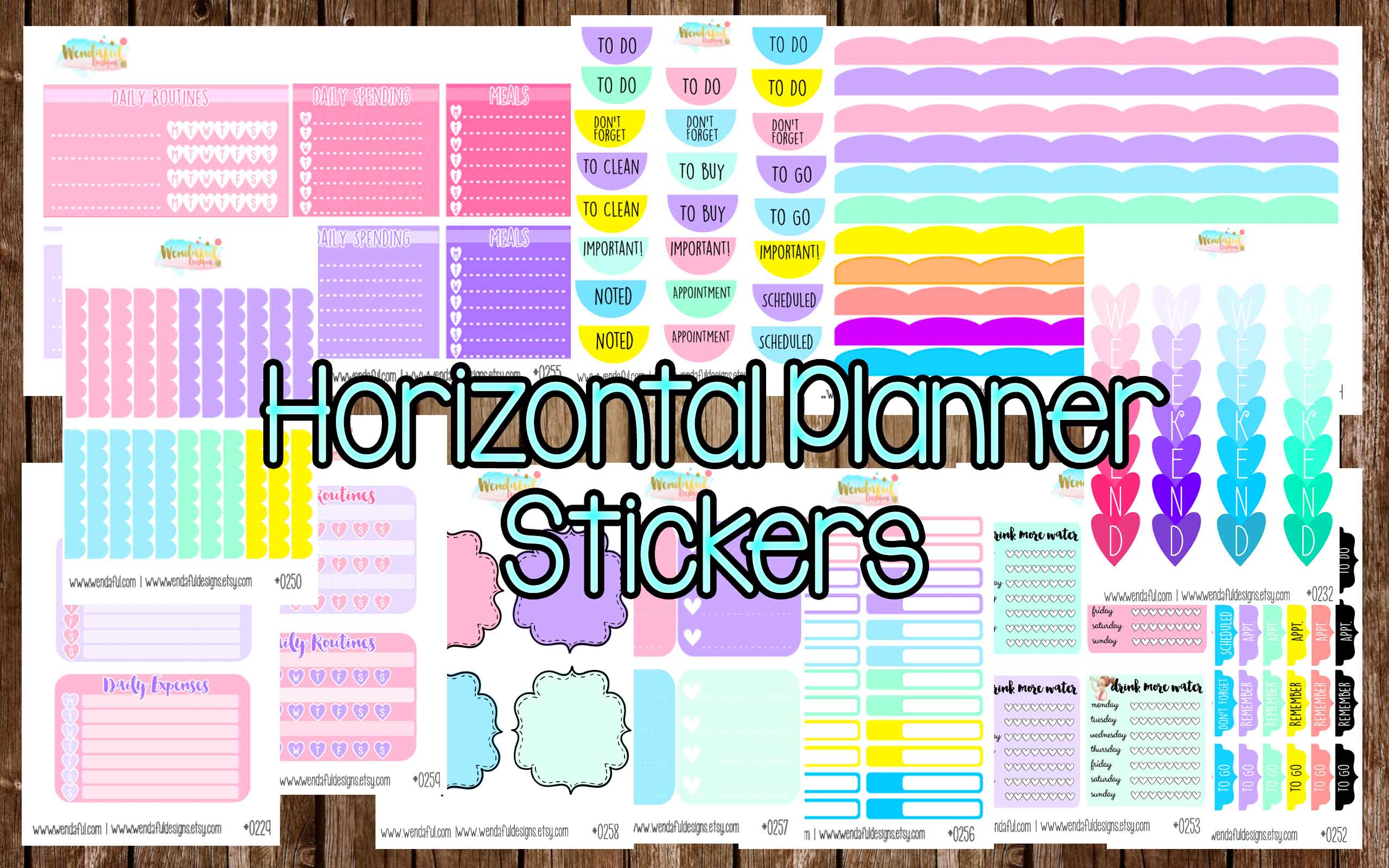 Erin Condren Horizontal Planner Stickers - Wendaful