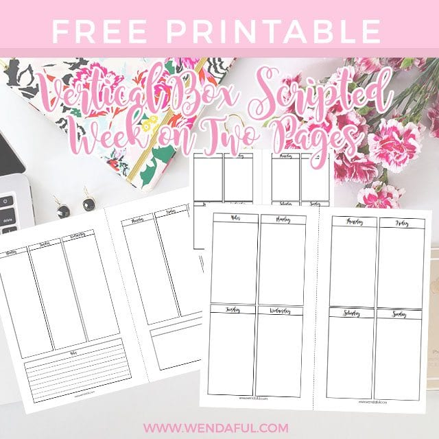 Planner Calendar Inserts : Vertical boxed week on two pages planner inserts wendaful