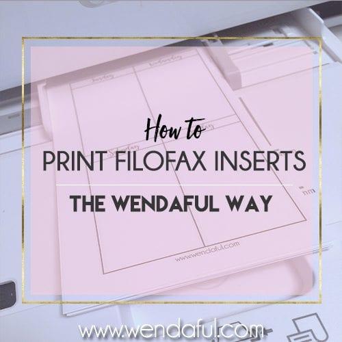how to print filofax inserts