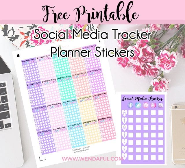 Free Cute Social Media Tracker Planner Stickers