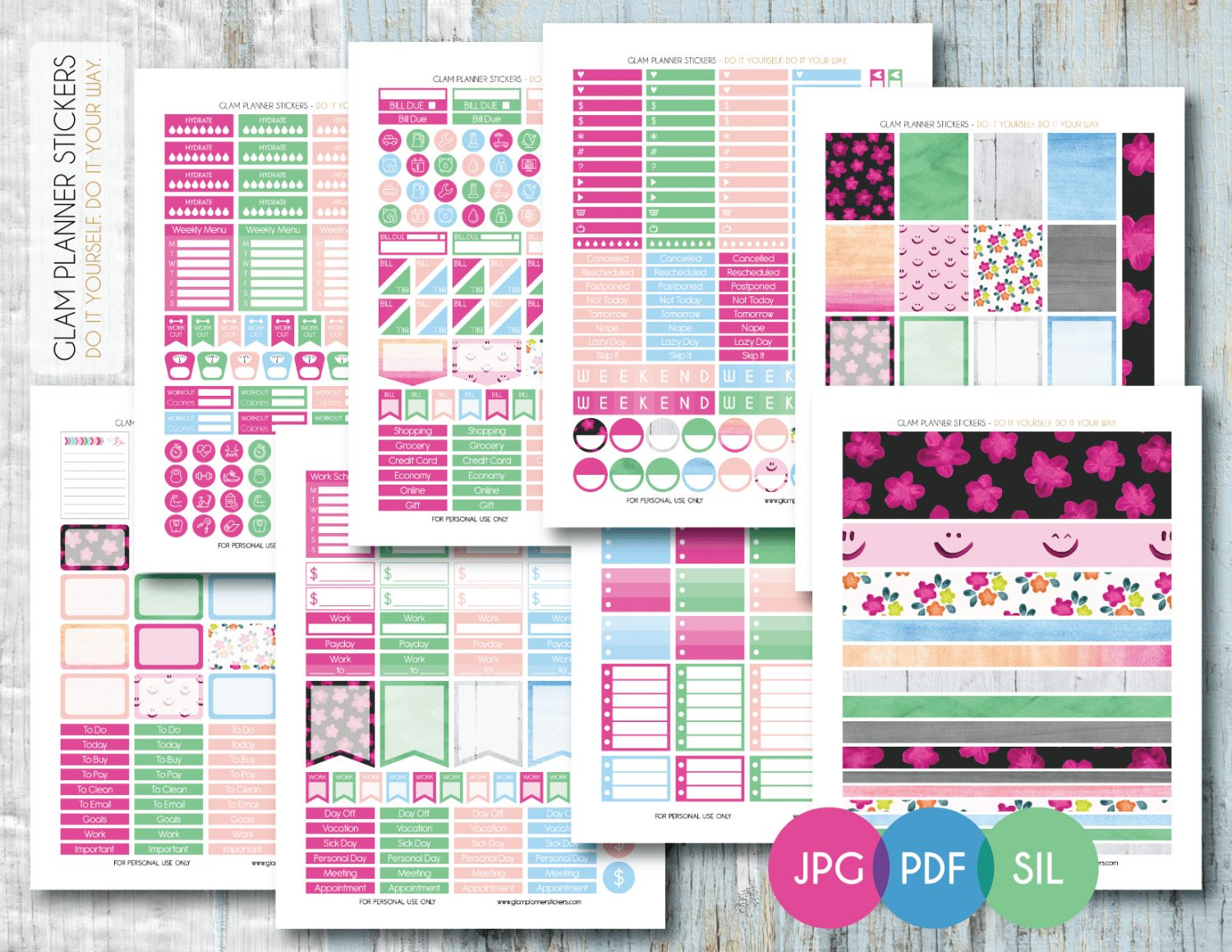 Luscious image within free printable planner stickers pdf