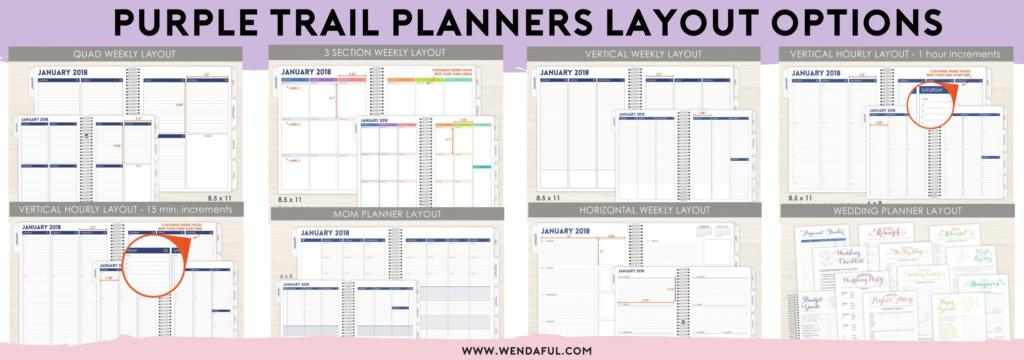 purple trail planners layouts