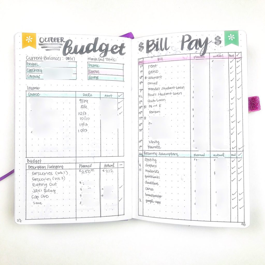 bullet journal bill pay and budget