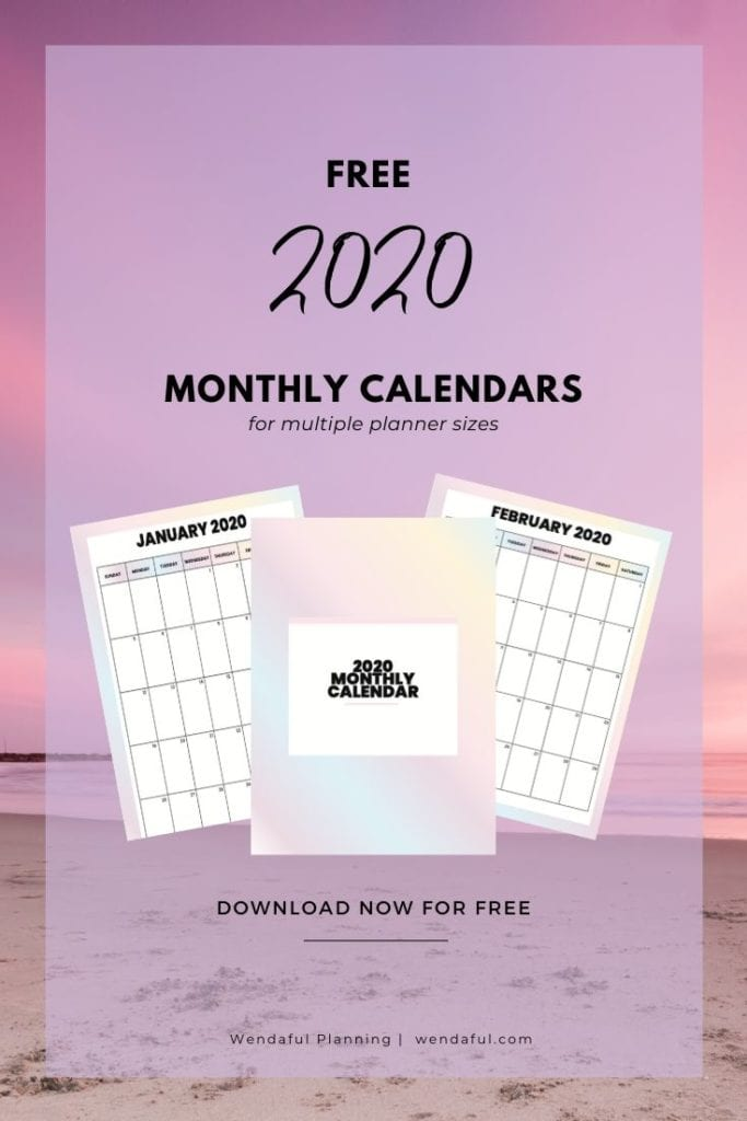 free 2020 monthly calendars