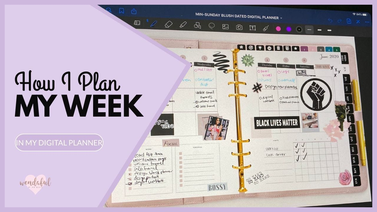 how i plan my week in my digital planner