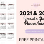2021-2022 Year at a Glance Planner Inserts