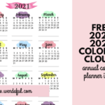 Free Printable 2021-2022 Colorful Pastel Clouds Annual Calendar Inserts